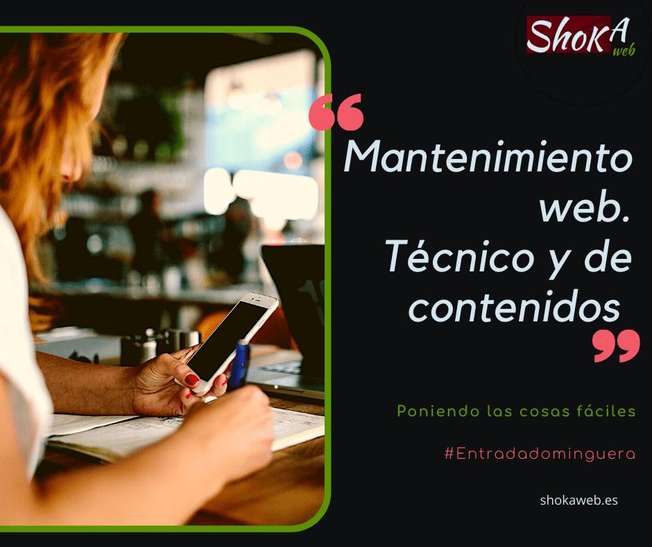 Mantenimiento web técnico y de contenidos shokaweb