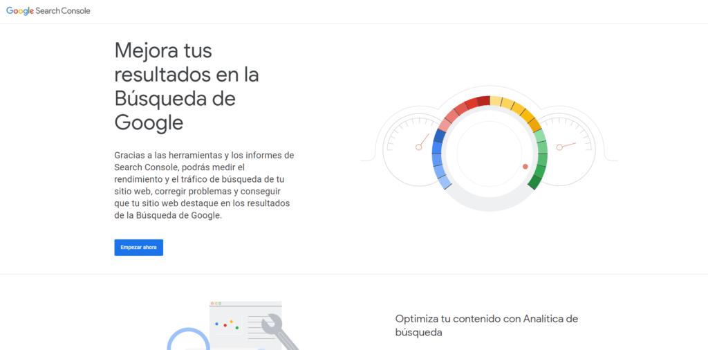 portada web herramienta de análisis web search console